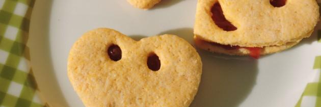 Ciasteczka kukurydziane z dżemem – na Walentynki