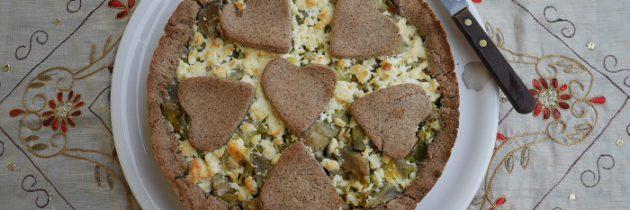 Słona tarta gryczana z karczochami i fetą