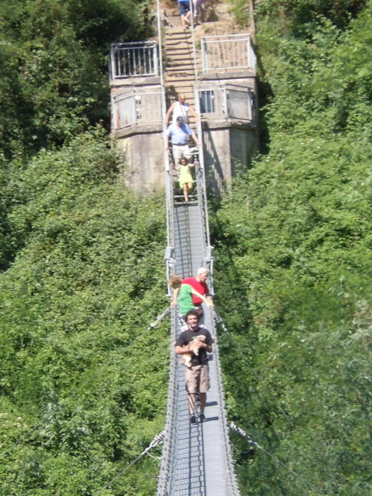 Pan z psem przechodzacy przez most