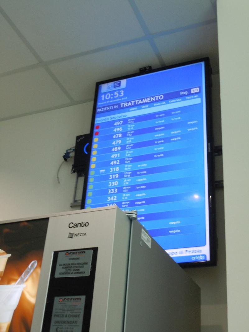 Na ekranie widac godzine naszego przyjazdu na ostry dyzur