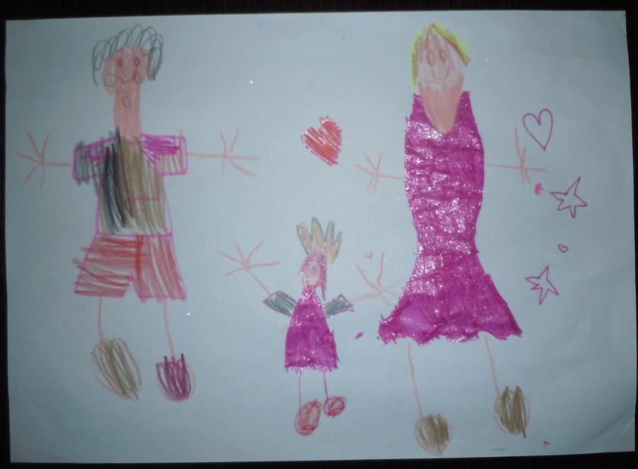 Jeden z ostatnio wykonanych rysunkow przez Julcie: od lewej tatus, Julcia i mamusia czyli ja :)