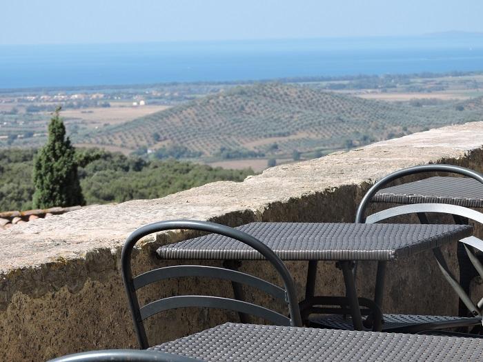Widok na morze i gaje oliwne